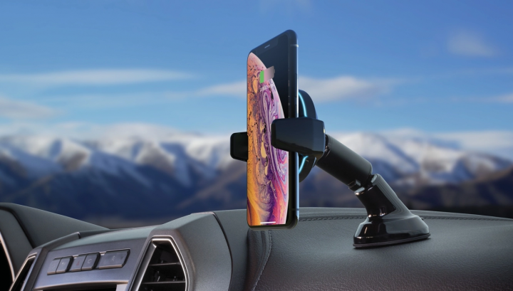 Scosche's MagicGrip Charge wireless charging mount literally grabs your phone from you